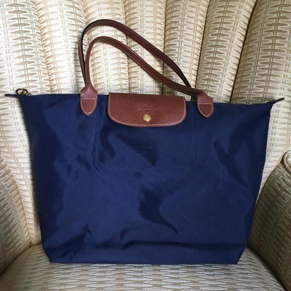 Longchamp Handbags - Longchamp Le Pliage Medium Tote Bag in Navy 37938fd0ac88f